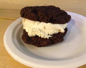 Ice cream between two cookies.