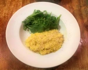 Butternut squash risotto with salad.