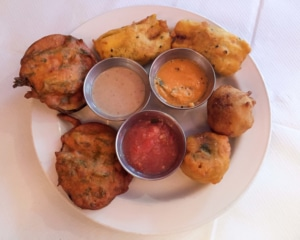 Fried snacks with dips.